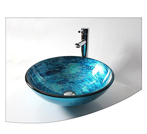 LH@ Dome contemporary bathroom glass sculpture blue art glass sink set above counter basin (T12*420*H145mm) , Single basin + faucet price