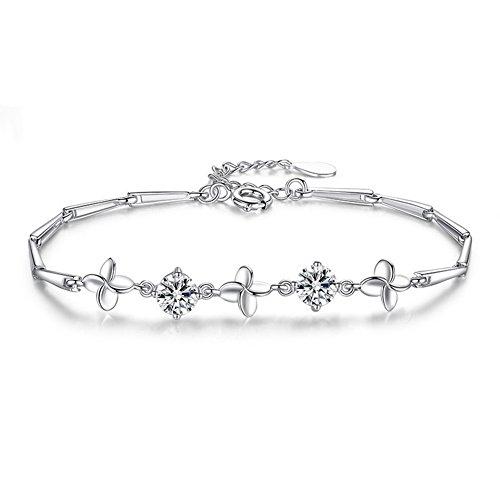 OMZBM S925 Sterling Silver Bracelet Lucky Hypoallergenic Clover Adjustable Hand Chain White for Women and Girl,B ()