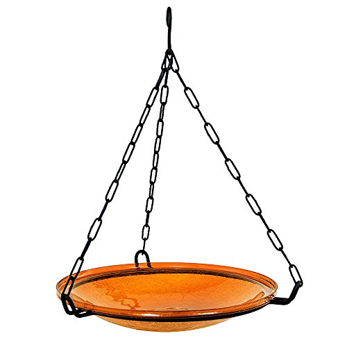 Achla Crackle Glass - Achla Designs Crackle Glass Hanging Birdbath, 14-in bowl, Mandarin