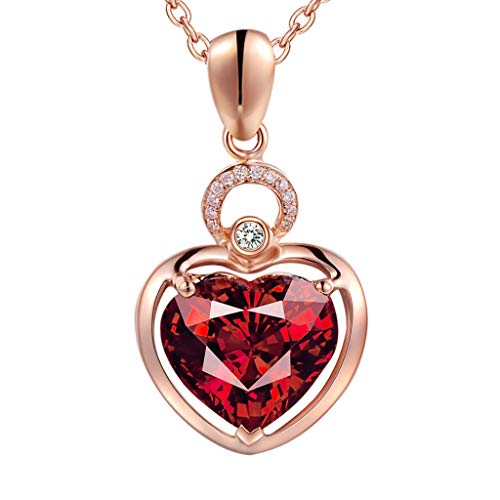 Lumumi Women's Natural Garnet Pendant Necklace, Ladies Charm Inlaid Ruby Clavicle Chain Necklaces Jewelry-Simple Stylish