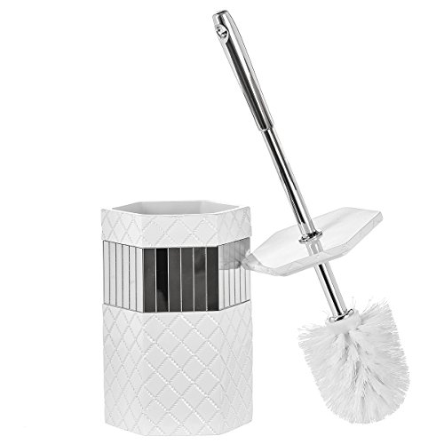 Creative Scents Bathroom Toilet Brush Set - Quilted Mirror Collection, Good Grip - White Commercial Mirrors Bathroom