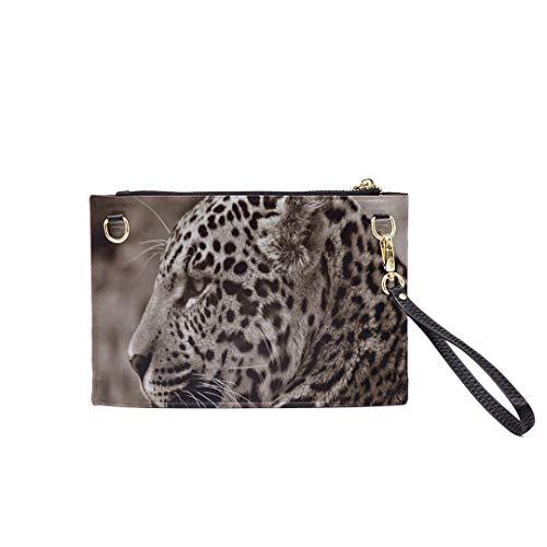 Handbag Shoulder Bags Envelope Clutch Jaguar Halbwuchsig Sepia Profile Animal Animal Ph Clutch Purse For Women Wrist Leather Zipper Crossbody Bag Satchel Purse With Detachable Shoulder &wrist Straps
