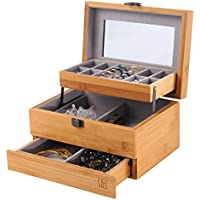 NXhome Bamboo Watch Storage Jewelry Organizer Mirrored Storage Case Gift for Mom