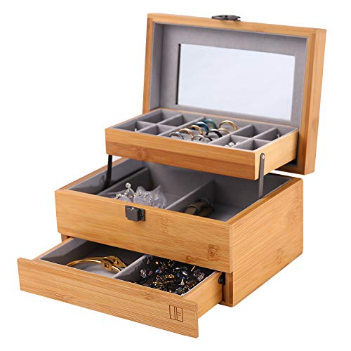 NXhome Bamboo Jewelry Box and Jewelry Organizer Watch Storage Jewelry Organizer Mirrored Storage Case Gift for Mom (A2(3-Layers Jewelry Box Organizer)) from NXhome