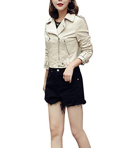 Veste Biker Motard en Blouson Femmes Beige Classique cuir manches Veste longues simili Motard cuir 7fSYSqg
