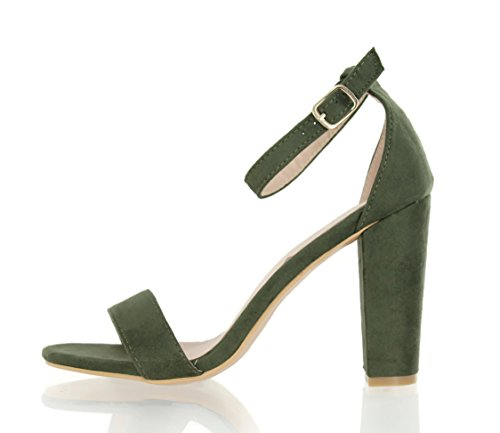 Pictures of Urban Heel Chunk Heel Sandals Ankle Strap Olive 7 M US 2