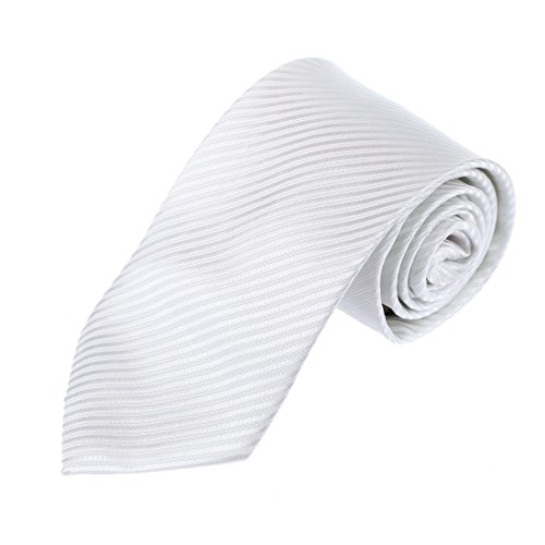 White Stripe Boys Tie (DAA3A01M Pure White Stripes Woven Microfiber Neckwear For Boyfriend Excellent Presents By Dan Smith)