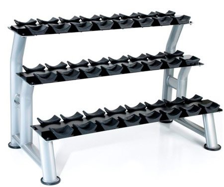 Hampton Fitness 3-Tier Chrome Dumbbell Saddle Rack by Ironcompany.com