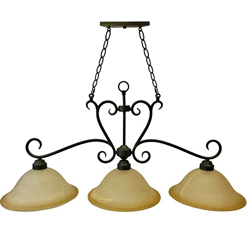 (3-Light Bronze Rustic Billiard Pendant Light | Old Bronze Finish, 13