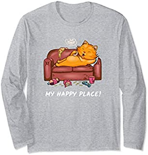 Cat My Place  Couch Lover Fast Food Loafer Long Sleeve T-shirt   Size S - 5XL