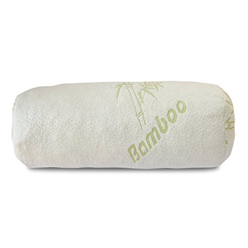 Restful Leg Support - Premium Bamboo Bolster Pillow For Bed - Shredded Memory Foam Pillow Cervical Support For Legs, Round Neck Pillow For Neck Pain, Therapeutic, Orthopedic - Removable Zipper Cover Hypoallergenic Pillow