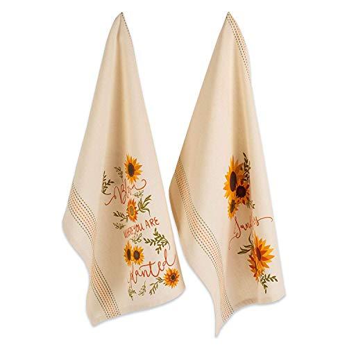 - DII 100% Cotton, Machine Washable, 2-Piece Set, Everyday Kitchen Dishtowel Set, Includes 1 Embroidered & 1 Plaid Dishtowel, 18 x 28
