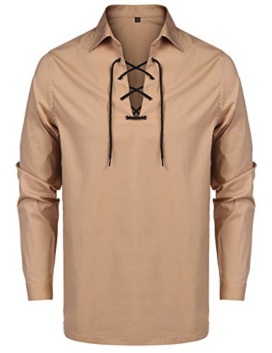 URRU Mens Solid Henley Shirt Slim Fit Long Sleeve Casual Cotton Lace-Up T Shirt Khaki M