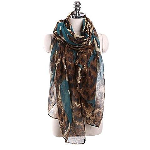 Oksale Women Ladies Leopard Print Voile Scarf Scarve Wrap Shawl (Light Blue)