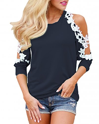 StyleDome Women's Off Shoulder Blouse Shirts Crechet Lace Long Sleeve Casual Round Neck Tee Tops Navy L