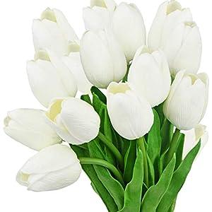 FiveSeasonStuff Tulips Artificial Flowers | Real Touch | Wedding Bouquet Home Décor Party | Floral Arrangements | 15 Stems 114