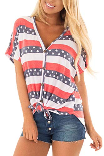 Womens July 4th Tie Front Button Down T Shirts Loose American Flag Short Sleeve Tops Star & Stripe XL