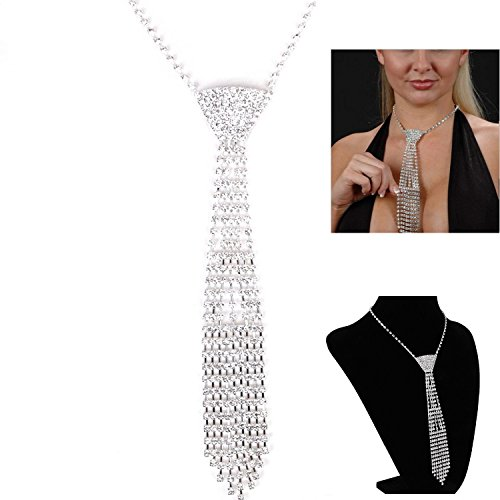 Silver Sexy Crystal Rhinestone Small Necktie Wedding Necklace with Deco Pattern (Tassel Style) by Janestore Metral Tree Fashion Mens Necklace