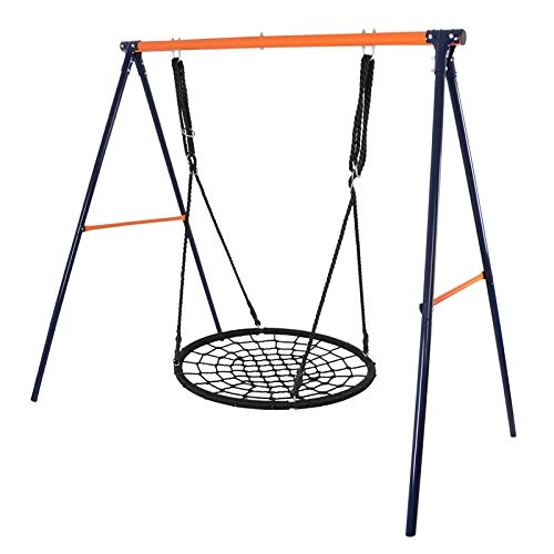 (ZENY 24'' Kids Web Tree Swing Spider Net Swing with Heavy Duty Steel Swing Stand Adjustable Rope, Great for Tree, Swing Set, Backyard, Playground, Playroom (24