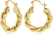 FAMARINE Twisted Gold Hoop Earrings for Women, Chunky Hoop Earrings Lightweight Gift, 14K Real Gold Plated