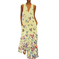 Maxi Dresses For Women??�deep V Neck Boho Butterfly Print Summer Casual Sleeveless Dress??�womens Loose Party Dress Plus Size Yellow 4xl