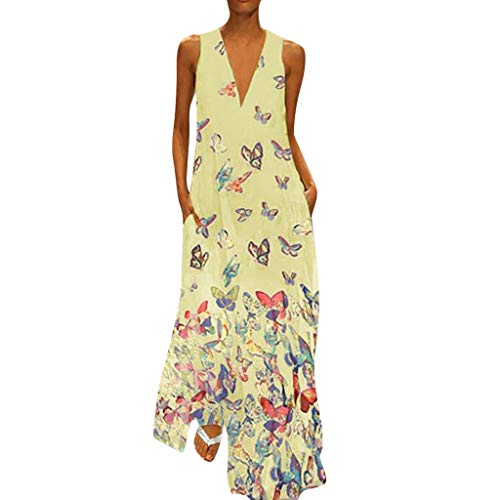 (Aniywn Ladies Deep V Neck Long Dress Plus Size Casual Sleeveless Maxi Dress Women's Floral Printed Party Dresses Yellow)