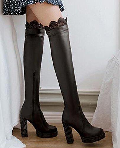 Idifu Vrouwen Sexy Kanten Gespleten Hoge Stevige Hakken Platform Boven De Knie Hoge Lange Laarzen Met Rits Zwart