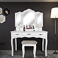 Tri Folding Mirror Vanity Table Set Dressing Table with Cushioned Stool& 7 Storage Drawer Wood Furniture