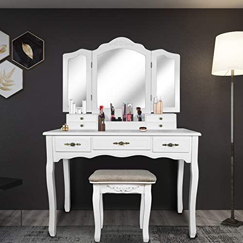 SCYL Color Your Life Tri Folding Mirror Vanity Table Set Dressing Table -