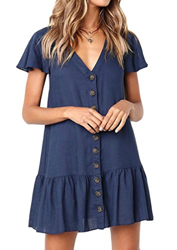 Frieed Womens Shift Casual T-Shirt Mini Button Front Pleated V-Neck Tunic Dress Dark Blue M