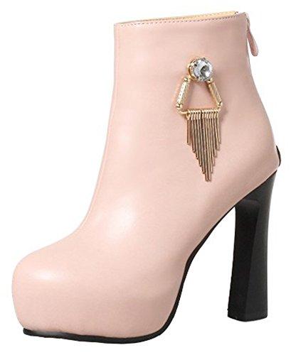 Women's Round Toe Platform High Heels Fashion Ankle Boots Pink - 9
