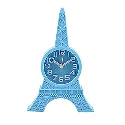 Cartiar Mini Paris Eiffel Tower Shape 3D Paris Design Quartz Alarm Clocks for Home Decoration Blue