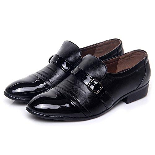 WZG zapatos casuales de la moda de los nuevos hombres del pie zapatos de trabajo establecido negro zapatos de boda zapatos de punta baja de negocio señalado Black