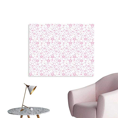 J Chief Sky Cherry Blossom Mural Decoration Childish Cute Pink Flowers on White Background Kids Girls Simple Design Wall Art Stickers W48 xL32