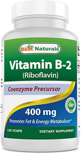 Best Naturals Vitamin B2 (Riboflavin) 400mg – Migraine Relief – Veggie Capsules – Conezyme Precursor – 120 Count