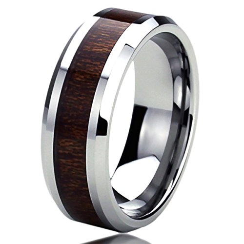 Personalized Wedding Band Ring (Free Engraving Personalized Titanium Comfort Fit Wedding Band Ring 8mm Wood Grain Inlay Ring)