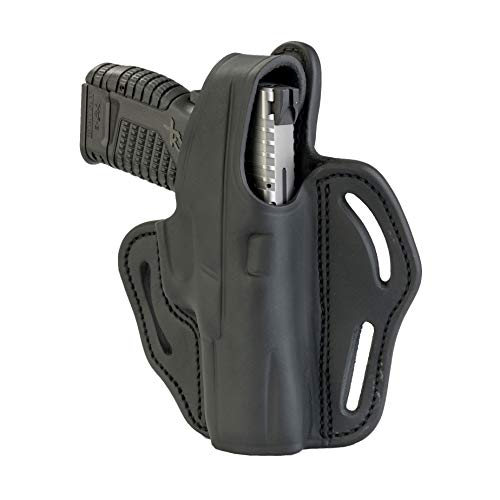 - 1791 GUNLEATHER XDS Thumb Break Holster - Right Handed OWB Leather Gun Holster - Fits Glock 17, 19, Ruger SR9, SR22, Sig Sauer P225, Springfield XDS, SW Shield MP9 MP40, Walther CCP, Taurus G2 - Black