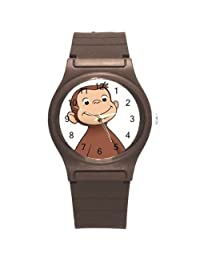 Curious George on a Boys, Girls Brown Plastic Watch Band