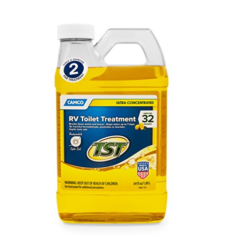 Camco TST Ultra-Concentrated Lemon Scent RV Toilet Treatment, Formaldehyde Free, Breaks Down Waste And Tissue, Septic Tank Safe, Treats Up To 16 - 40 Gallon Holding Tanks (64 oz Bottle) (41575)