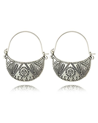 Young & Forever Women's Tribal Muse Black Metal Hoop Earrings Fancy Party Wear Earrings by Young & Forever