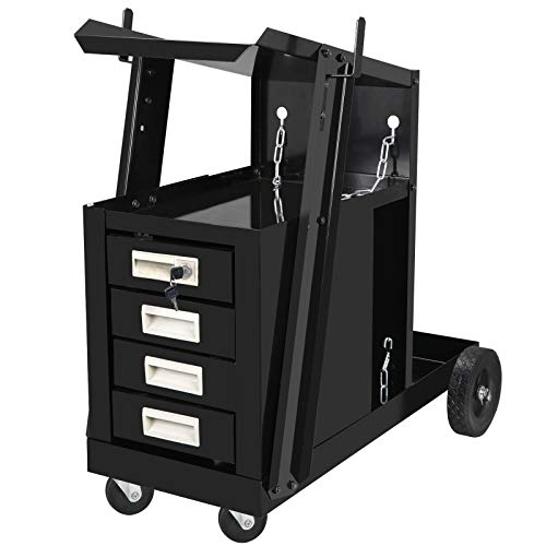 F2C 2-Tier 4-Drawer Cabinet Welding Cart Mig Tig Arc Plasma Welding Welder Cart Trolley Heavy Duty Rolling Workshop Organizer Universal W/Tank Storage& Safety Chains