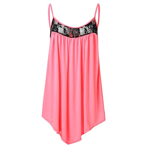 (TIFENNY Tanks for Women Round Neck Sexy Suspenders Lace Stitching Solid Color Sling Summer Pleated Loose Tops Shirt Pink)