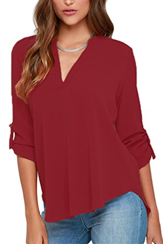 Dokotoo Womens Casual Chiffon Ladies V-Neck Cuffed Sleeve Blouse Tops XX-Large Wine,Wine,(US18-20)XXL