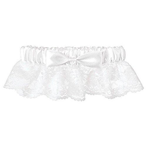 Amscan 395575 Gift, Garter-Lace with Ribbon, Party Supplies, White, one Size 1ct