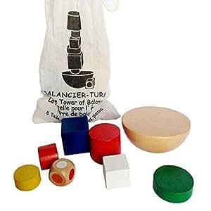 1 Set Kids Wooden Geometric Blocks Montessori Balancing Game Toys with Canvas Bag