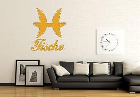 WandTattoo - signo del zodiaco Piscis, amarillo dorado, ca. 44,80 ...