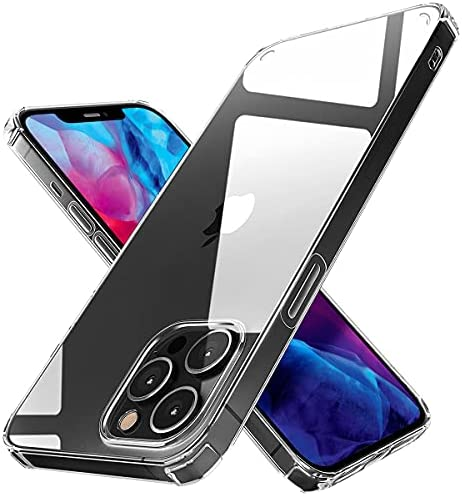 Crystal Clear Case for iPhone 12 Pro Max – Thin, Non-Yellowing Protective Phone Cover with Slim PC Back, Shockproof Silicone Edges and Raised Bezels for Camera and Screen Protection