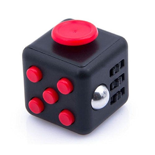 Generic Fidget Cube Relieves Stress Boredom & Anxiety Christmas Gift, Black/Red