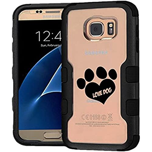 Galaxy S7 Case Love Dog, Extra Shock-Absorb Clear back panel + Engineered TPU bumper 3 layer protection for Samsung Galaxy S7 (New 2016) Black Cover (Love Sales