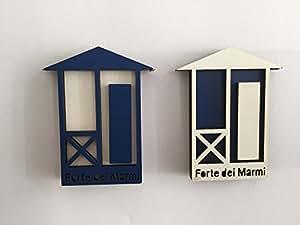 Imán-Imán de cabina de mármol fuerte (10 colores diferentes) Bianco (sfondo Blu)